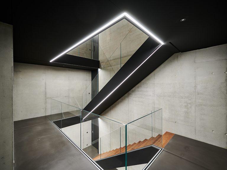 Architekturbeleuchtung für zwei Villen in Nagold, Treppenhaus