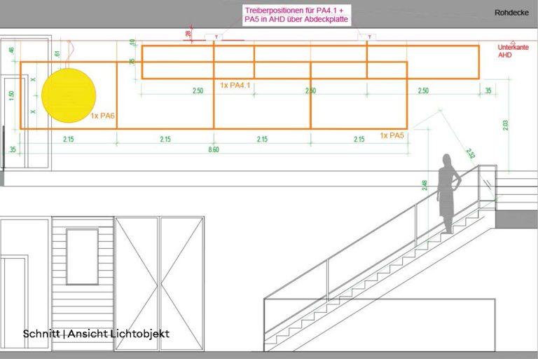 candela-Sonderleuchte-Lichtmatrix-Hilton-garden-Inn-Mannheim-Schnitt-Ansicht